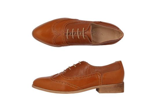 On Sale 30% Women oxford shoes Brown leather flats by ADIKILAV