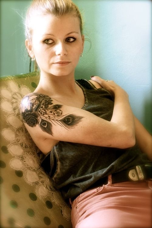 flower sleeve tattoos for women | Beautiful tattoo design for women, flowers and feather on one tattoo ...