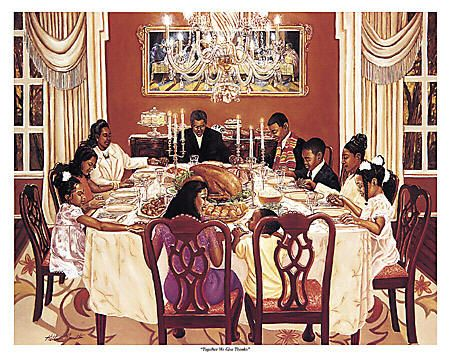 Together We Give Thanks By Katherine Roundtree Shows An Extended Black Family Gathered For Thanksgiving Dinner Saying Grace Before The Meal