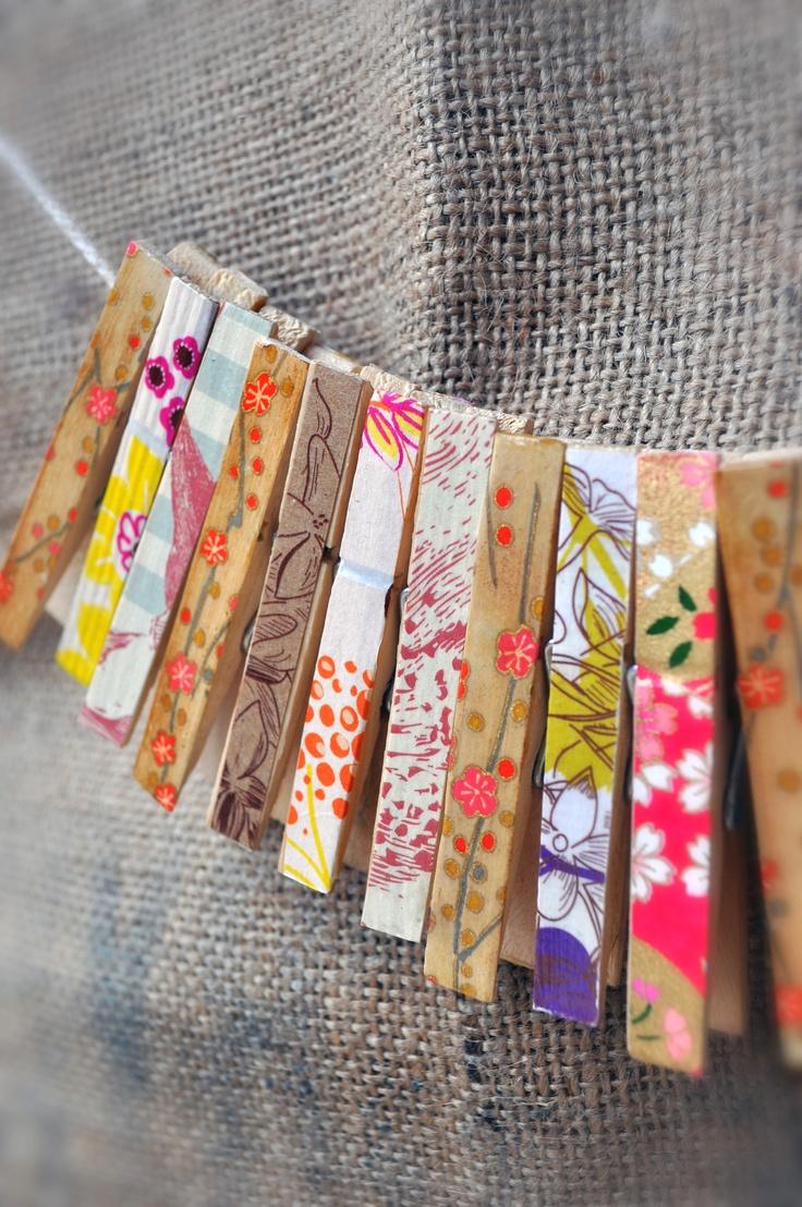 Handmade vintage clothes pegs by Minnie Sprinkles. Facebook.com/minniesprinkles