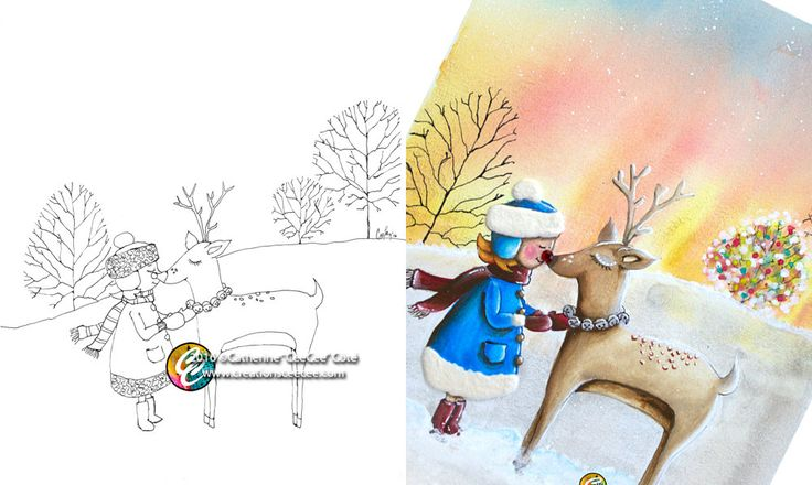 printable coloring page : my friend Rudolph by creationsCeeCee on Etsy