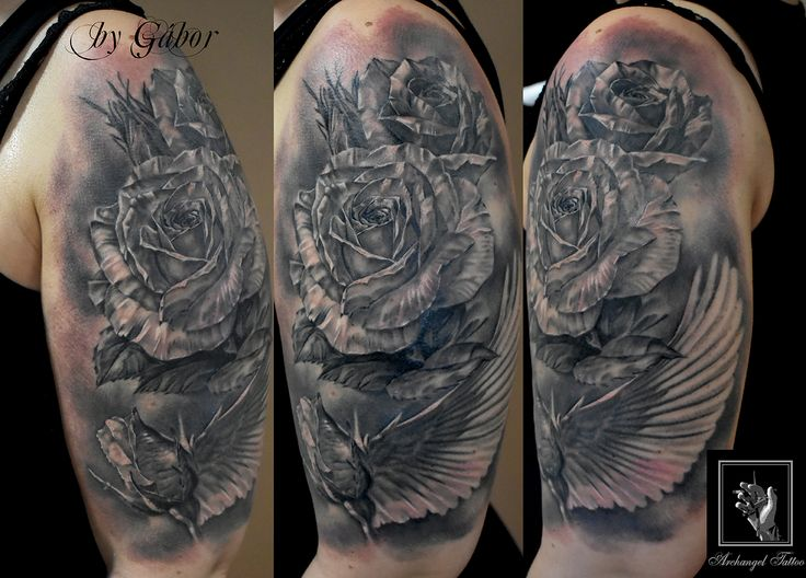 Realistic rose + angel wing theme tattoo by Gabor Smola. You can find me and more works from me on social network: www.instagram.com/gabor_smola, www.facebook.com/GaborSmolaArchangelTattoo