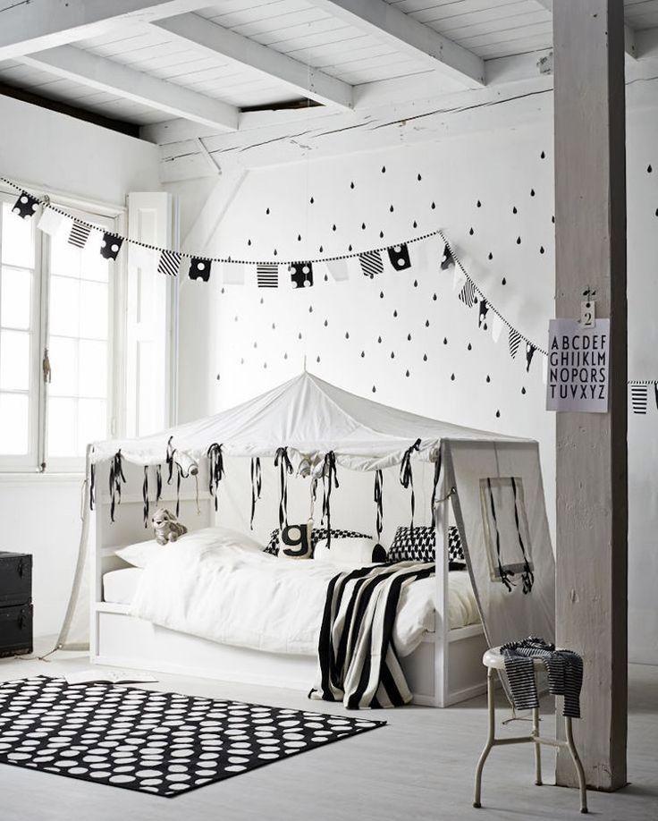Ikea Kura Bett Umgestalten Schwarz Weiss Zelt Skandinavisch Bedroom