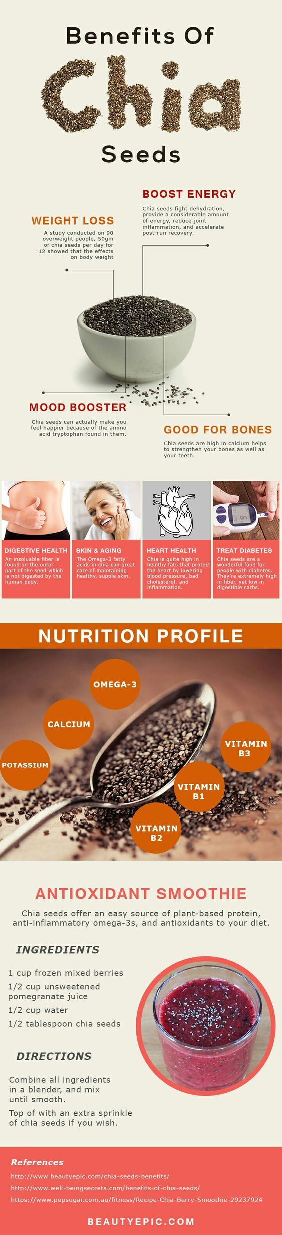 Chia seeds are great resource of Omega-3.Omega-3 is very important for maintaining good physical health.Here are some surprising Chia Seeds benefits