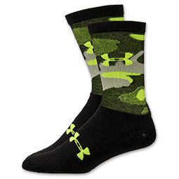 Men's Under Armour Camo Crew Socks | FinishLine.com | Black/Yellow