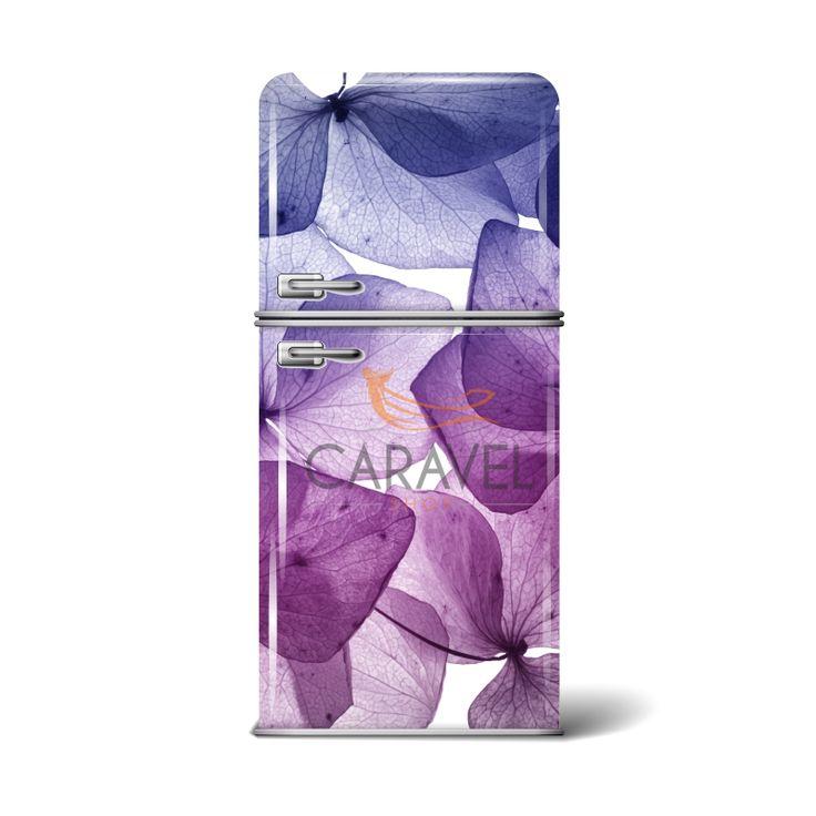 Αυτοκόλλητο Ψυγείου με μωβ λουλούδια