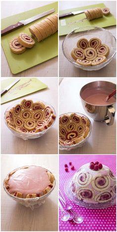 Dessert : Charlotte russe aux framboises http://www.odelices.com/recette/charlotte-royale-aux-framboises-r4148/