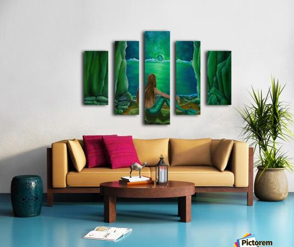 Polyptych, 5 split,  stretched, canvas, multi panel, prints, for sale, mermaid, painting, coastal, fantasy, scene, mystical, beach, cave, aquatic, life, creature, seascape, sitting, pose, on rocks, mythical, mythological, magical, atmospheric, romantic, nostalgic, moonlight, night, theme, fish, water, merpeople, fantasy, green, beautiful, awesome, cool, contemporary, imaginary, figurative,fine,oil,wall,art,images,home,office,decor,artwork,items,ideas,pictorem