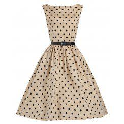 'Audrey' Mocha Polka Dot Vintage 1950's Inspired Swing/Jive Dress