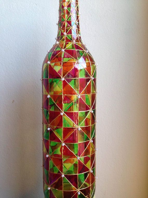 Hand painted bottles made for multi purpose decor.It can be used as vase and lamp both.Warm, smooth and mellow colors like Summer day!Place it in