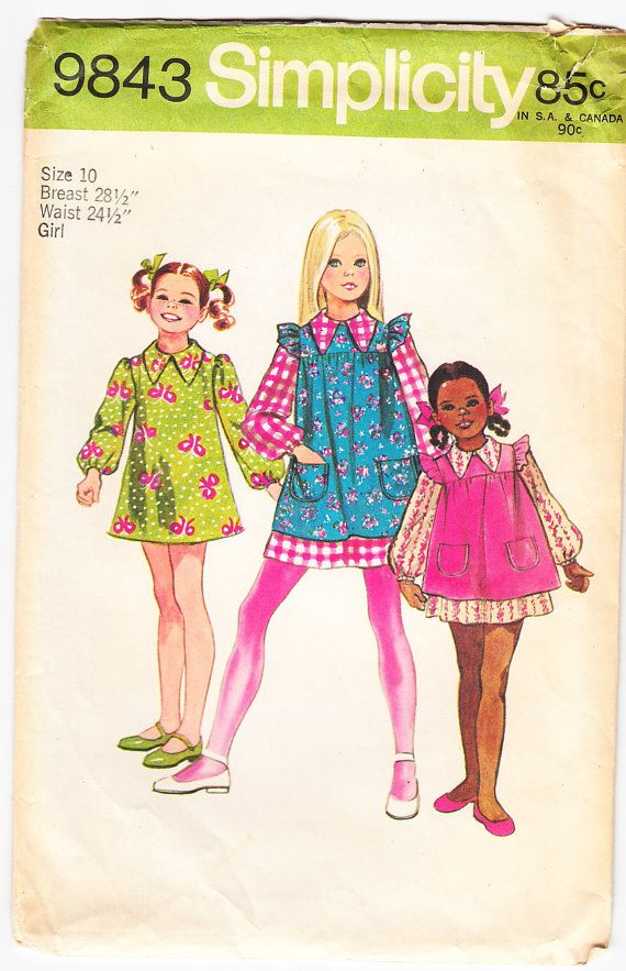 Vintage 1971 Simplicity 9843 Sewing Pattern Girl's Dress and Smock Size 10