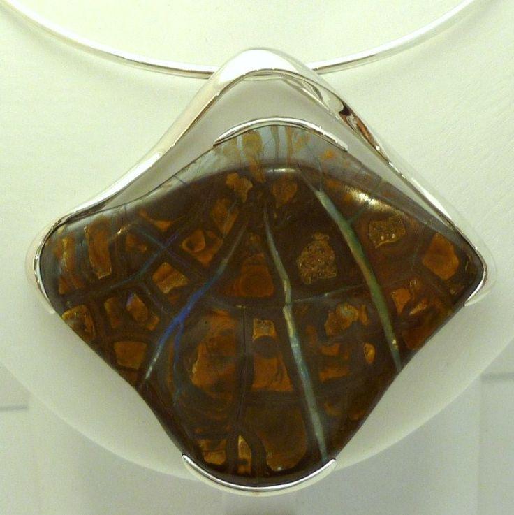 Unusual Ratliff design Boulder Opal pendant #opal #silver_jewellery #Queensland #necklace