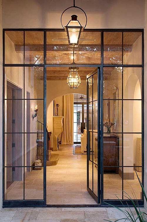 Steel frame doors.