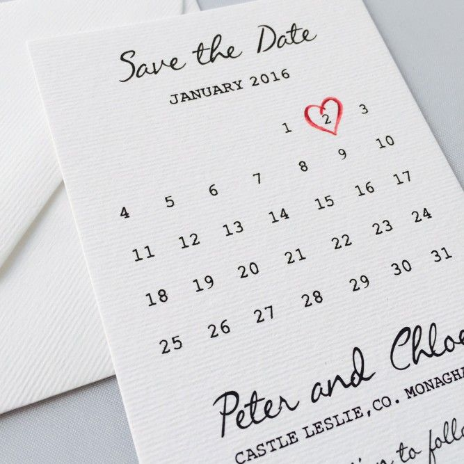 Save the Date calender with a lovely mixture of typewriter and calligraphy fonts.