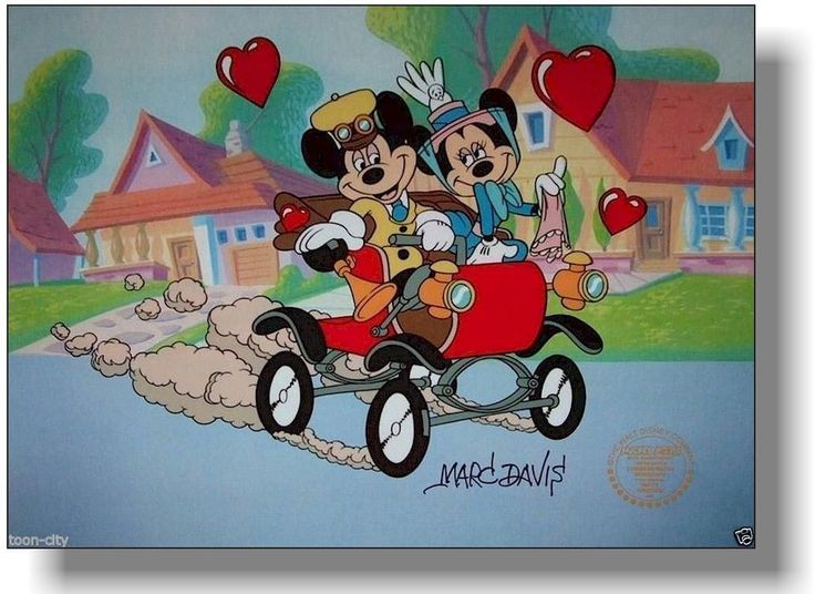 Disney mickey minnie sericel cel hand signed marc davis nifty nineties toontown