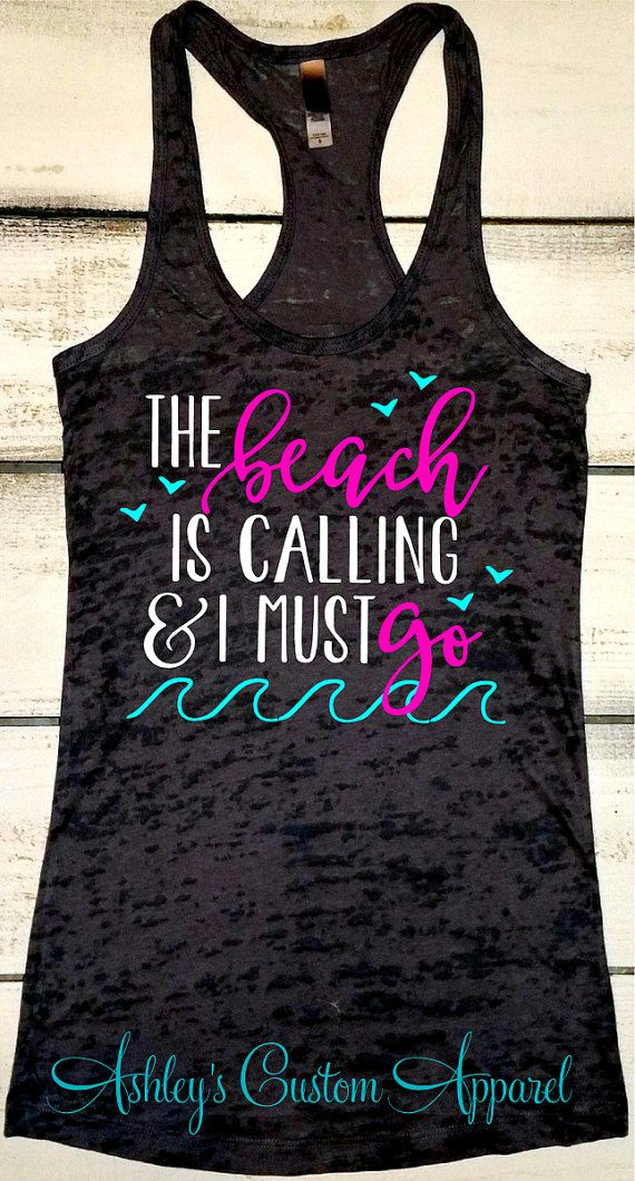 Beach Tank, The Beach is Calling, Summer Tank, Swimsuit Cover Up, The Beach is my Happy Place, Beach Shirt, Vacation Tanks, Summer Sayings  by AshleysCustomApparel
