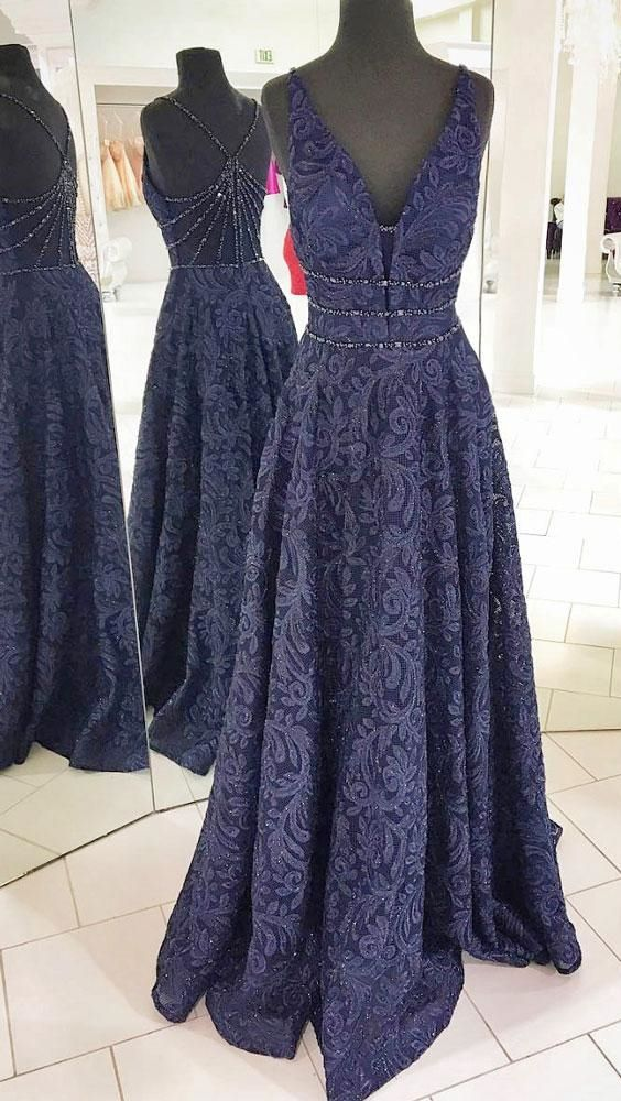 elegant dark blue lace prom dress with beading, fashion deep v-neck dark blue party dress with beading