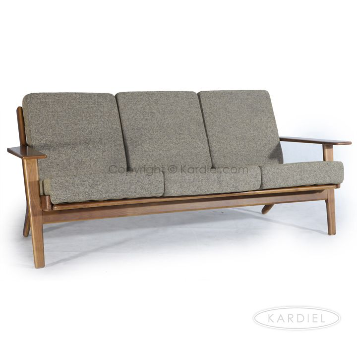 Hans J Wegner Style Plank Sofa Oatmeal Twill Dark Wood 1399 Removable Cushions Cabin Vibes