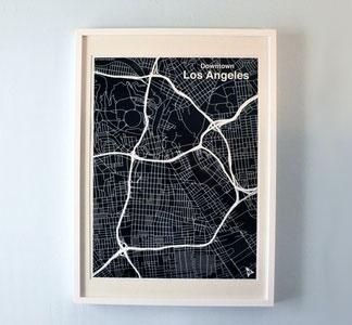 oh, L.A.: La Maps, Silkscreen Prints, Silk Screens Prints, Cities Maps, Black Silk Screens, A Frame, Los Angeles, Downtown Los Angel, Maps Maps