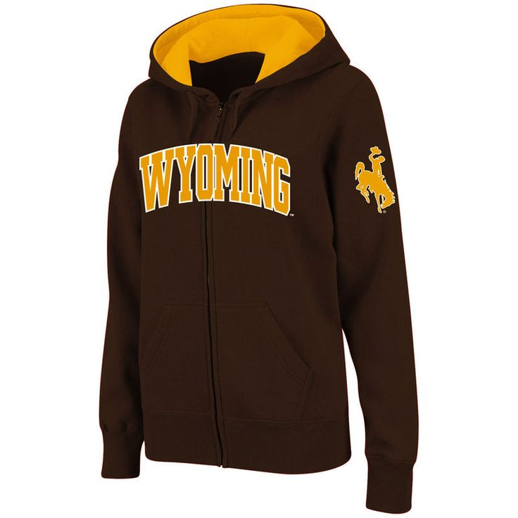 Wyoming Cowboys Stadium Athletic Women's Arched Name Full-Zip Hoodie - Brown