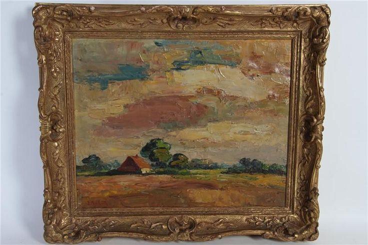 Schilderijop doek 'Boerderij met kleurende lucht'. Jan van Lier (1921-) HxB: 38.5 x 48.5 cm.