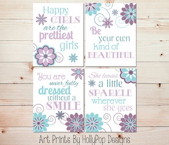 Purple Bedroom Decor Toddler Girl Art Prints She Leaves Little Sparkle Quote Inspirational Tween Girl Art Baby Girl Art Nursery Prints 0898