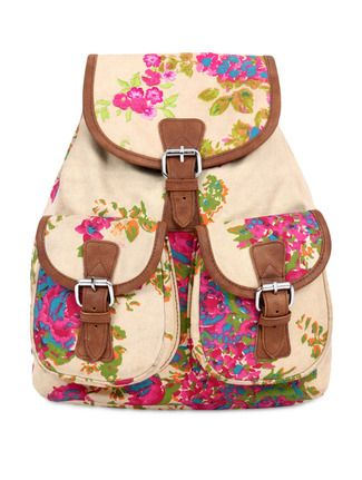 Beige floral print canvas backpack