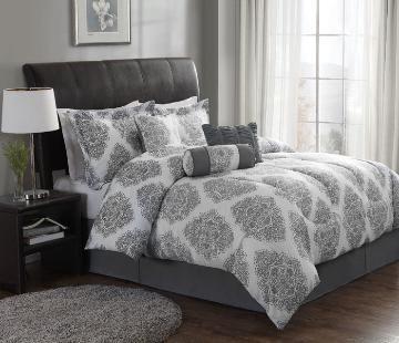 gray and white damask bedding, damask bedding, gray bedding, medallion bedding, gray and white medallian bedding
