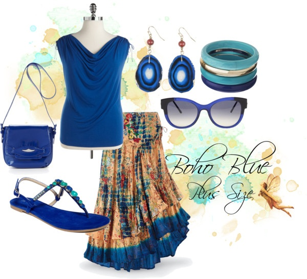 """Boho Blue, Plus Size"" by redheaded-diva on Polyvore"