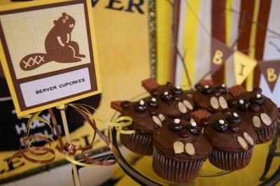Beaver Cupcakes: Cupcakes Karen, Entir Beavers, Beavers Parties, Beavers Birthday David, Beavers Cupcakes, 1St Birthday, Beavers National, Beav Parties, Birthday Ideas