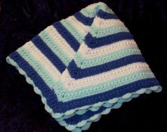 Apoyo de foto bebé manta Plaza afgano Lapghan Carseat manta bebé regalo bebé niño manta frazada Lovey azul blanco menta listo para nave de ganchillo