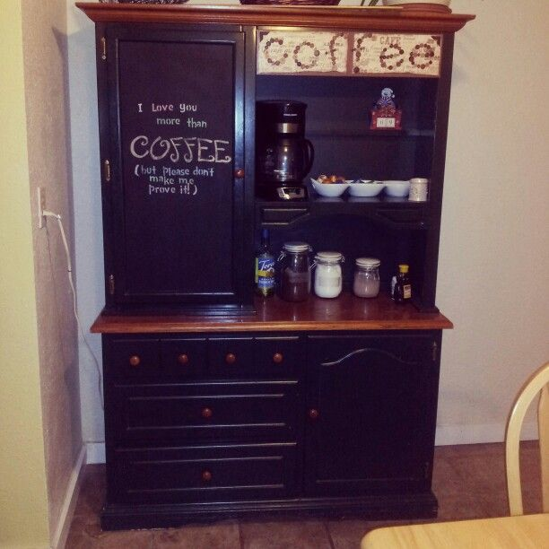 Coffee bar... @Terri Barton I'm stealing the hutch to make this... this is my next project!