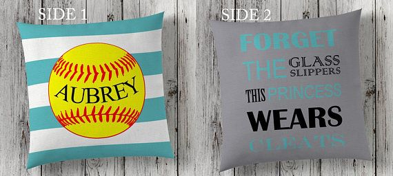 Softball Themed Pillows. These would be great for a teen girls bedroom. #softballplayer #fastpitch #softballmom #teengirlchristmasgift #promotion Softball gift, softball room decor, kids pillow cover, kids room decor, double sided custom pillow cover, gift for her, teen girl room decor