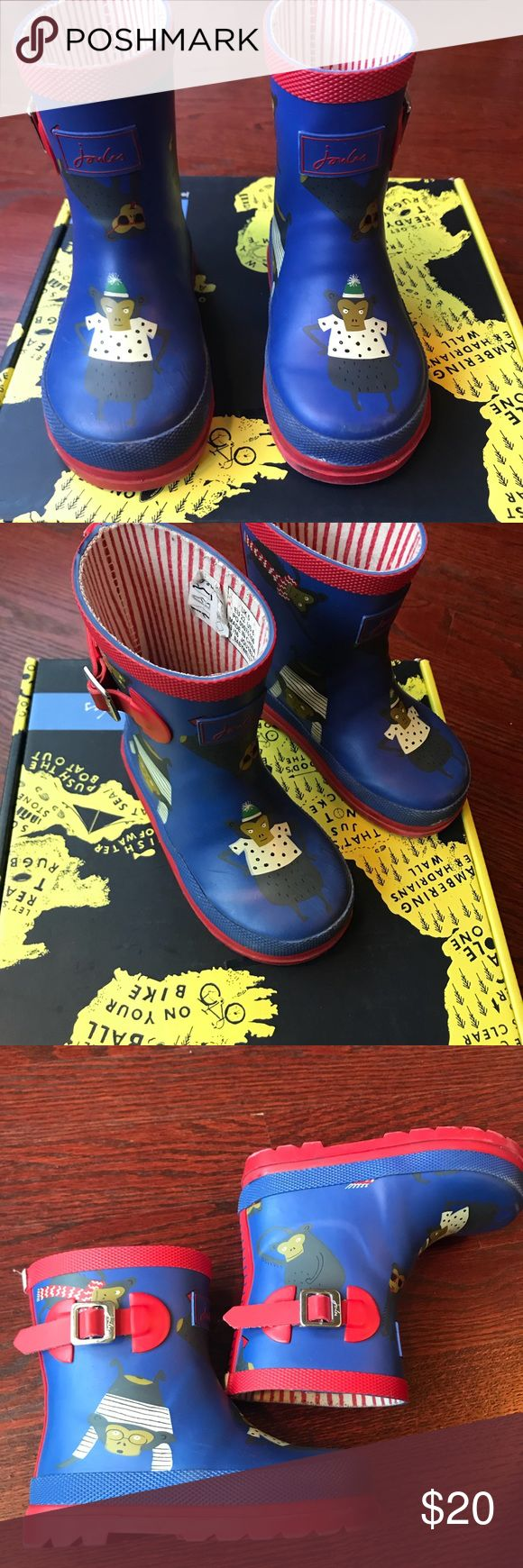 Joules kids adorable monkey rain boots US size 6 Joules Adorable rubber rain boots for kids-unisex Size 6 US w/box  Pre-owned but great condition  Perfect for puddles and bad weather Joules Shoes Rain & Snow Boots