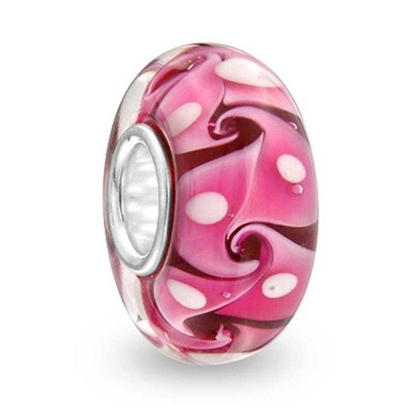 Pink Swirl Glass Bead    Girly and cute! It's a great mate to any of our Nantucket Charm Beads and makes a great gift for your Valentine or even Mother's Day gift! Add a splash of color to your Pandora, Chamilia and Troll bracelets.