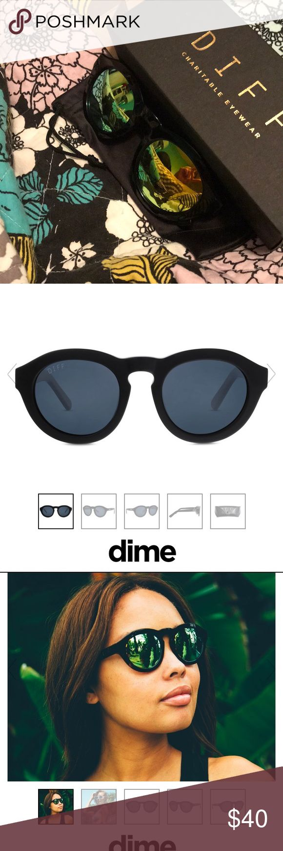Dime polarized glass black gold mirror sunglasses Brand new never worn, comes in original box and protective sleeve.  Designer hand cut acetate frames featuring stainless steel 5-barrel hinges  Polarized lens with 100% UVA/UVB Protection  Premium scratch resistant lenses  Lens 48mm Width x 43mm Height  Frame 143mm Width; 16mm Bridge; 145mm Temple Length Diff Eyewear Accessories Sunglasses