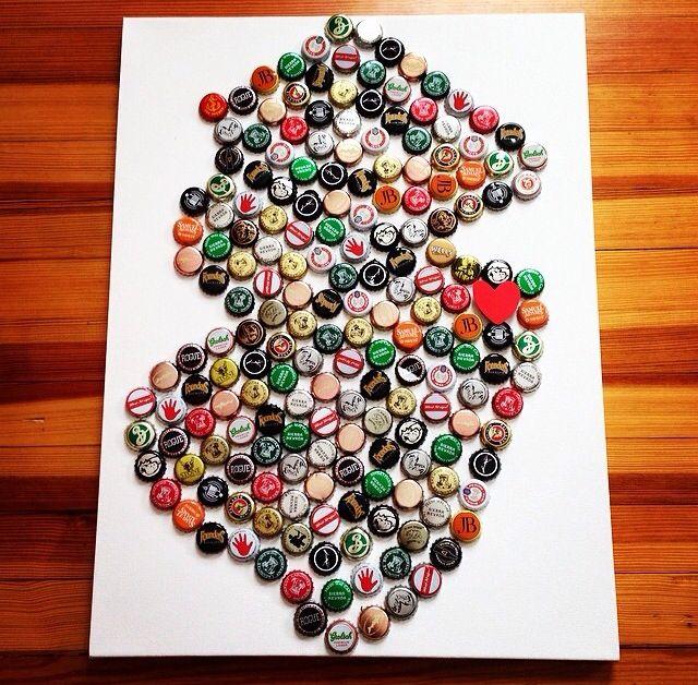 DIY Beer Map where we met! Bottle cap craft art