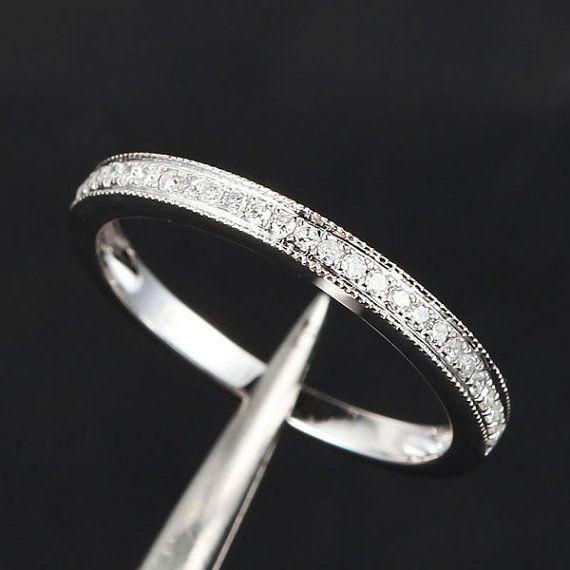 Eternity Band MILGRAIN Pave SI diamant solide 14K or blanc bague de mariage/mariage demi bande /emerald/sapphire/sapphire/rose or/Morganite