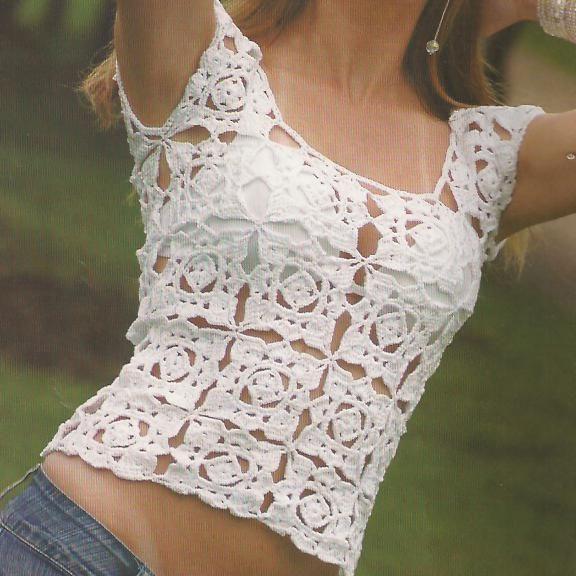 Hooked on crochet: Crochet top / Blusinha de crochê