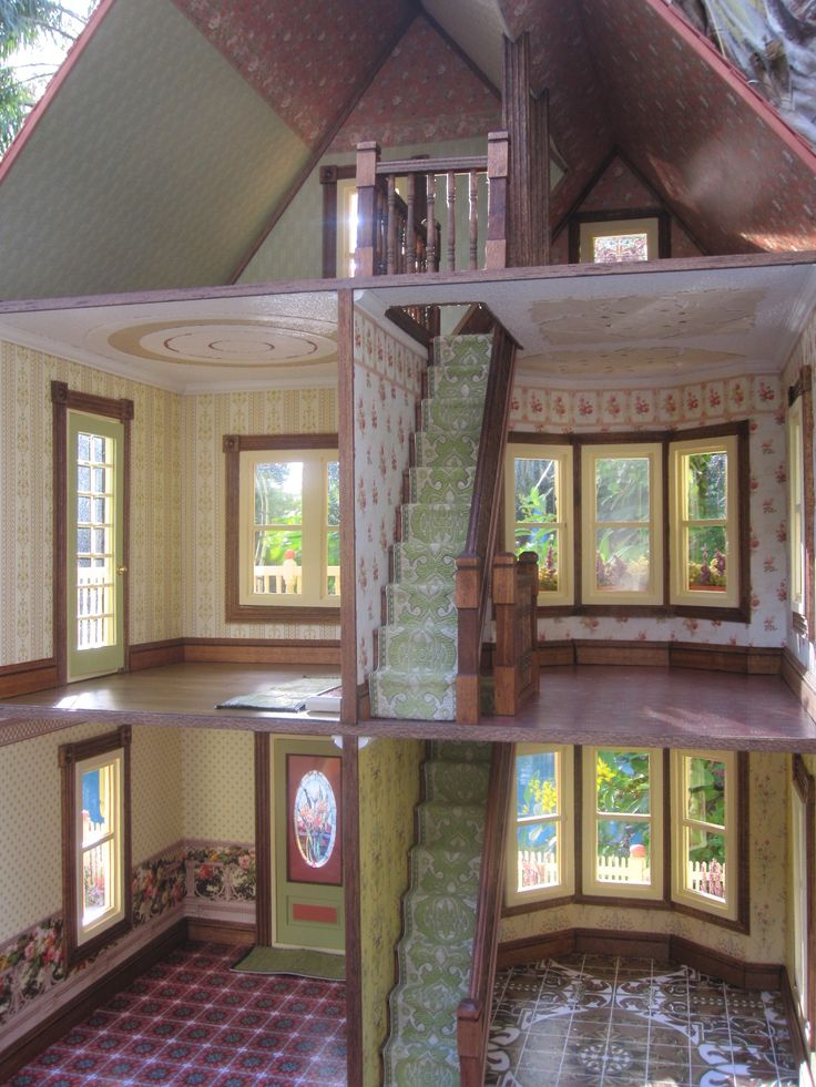 victorian dollhouse interior view of decorative wallpaper