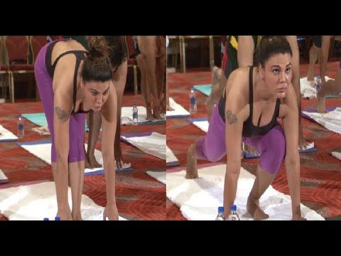 Rakhi Sawant's SEDUCTIVE yoga on International Yoga Day 2015.