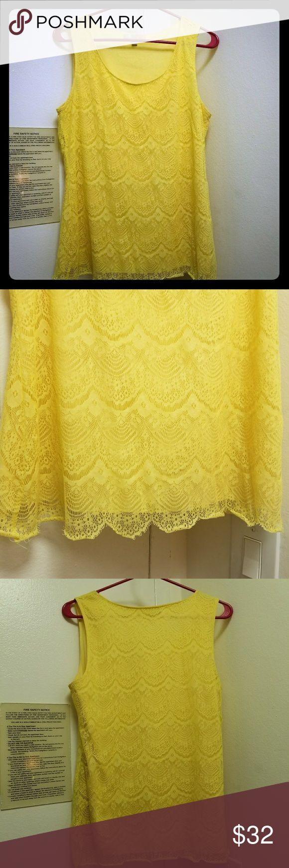 Banana Republic Yellow Lace Top In great condition! Worn twice, bottom lace curls a bit but too is basically in perfect condition!  Perfect for a night out or even a business casual look (will look great in a blazer)  Non trades please! Banana Republic Tops
