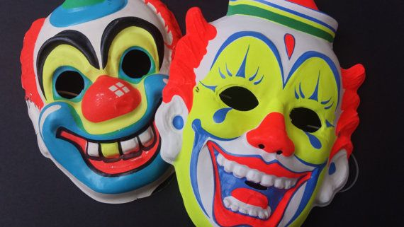Vintage Clown Mask Duo by kellyebyal on Etsy