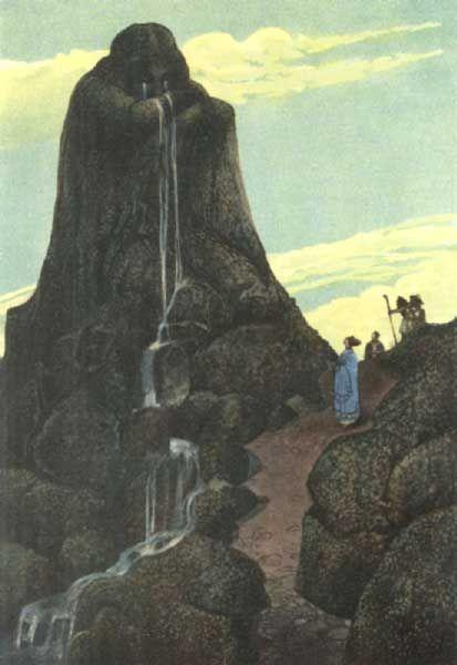 Níobe. Hija de Tántalo, era la madre de los Nióbidas, siete hijos y siete hijas. Orgullosa de su numerosa progenie, se jactó impúdicamente de haber superado a Leto, que solo había tenido a Apolo y Artemisa. Estos decidieron vengar el honor de su madre y mataron a los hijos de Níobe con sus flechas. Zeus, conmovido por el dolor de Níobe, la convirtió en una piedra de la que mana una fuente: las lágrimas de la madre que ha visto morir a sus hijos.