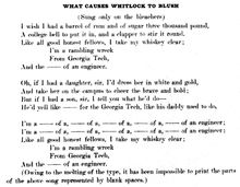 History of Georgia Tech - The first publication of Ramblin' Wreck, in 1908 Blue Print. The fight song of Georgia tech.