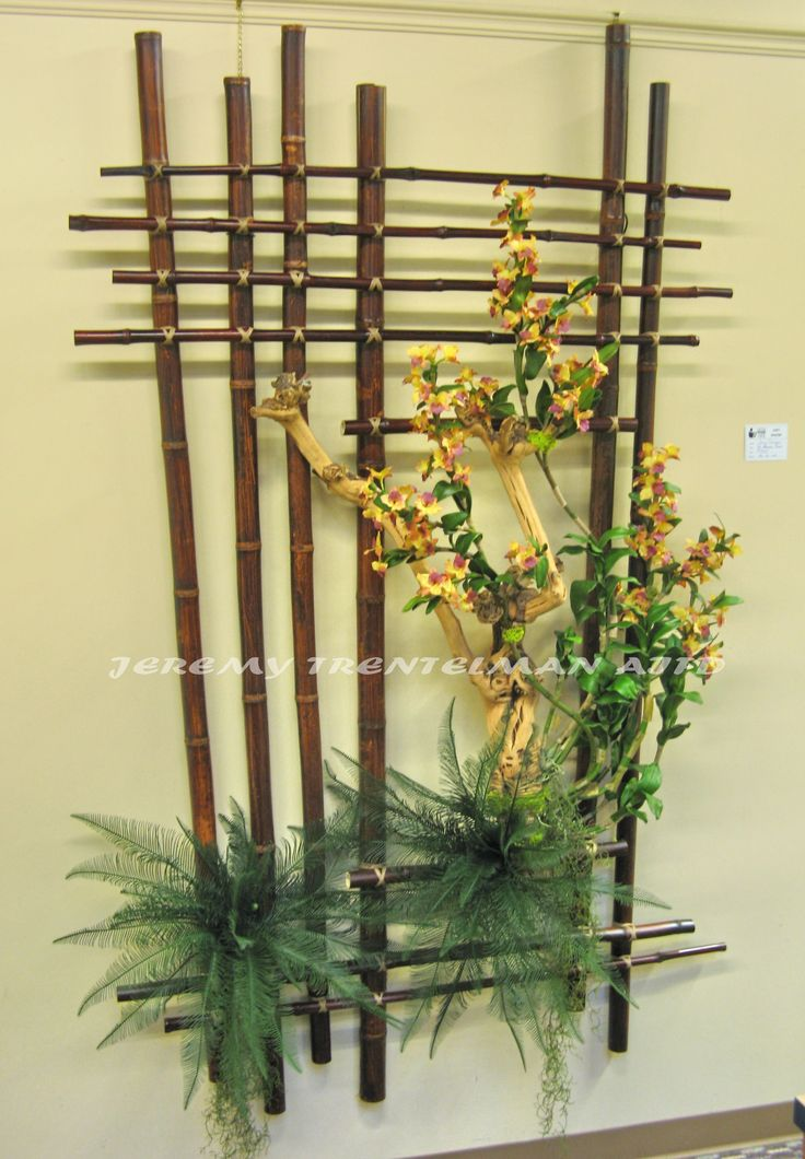 Bamboo Forest: 7' x 5' with artificial dendrobium orchids and a knotted and contorted branch. This was one of several pieces on exhibit at my last art show.