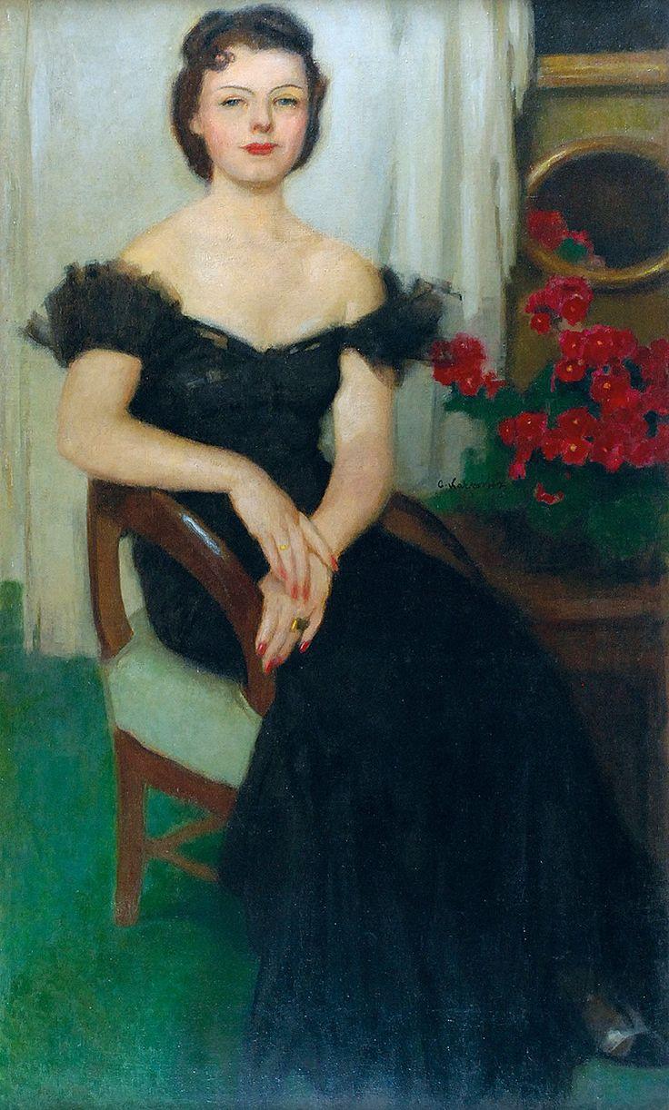 Alfons KARPIŃSKI (1875-1961)  Portret Pani Sch., ok. 1940 olej, płótno; 150 x 95 cm;