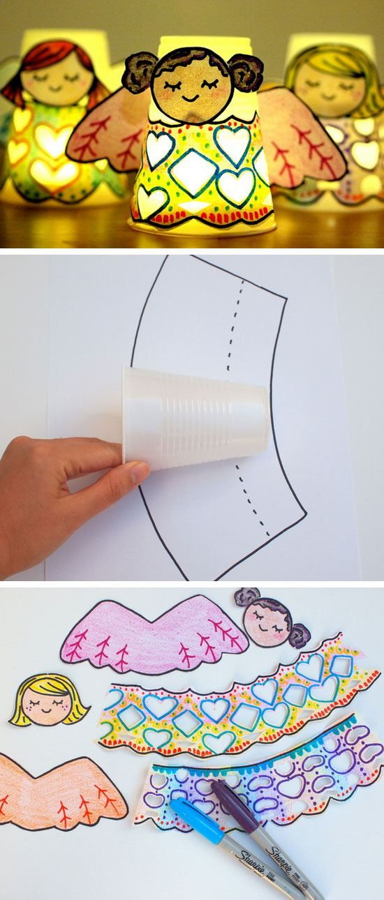 Paper Cup Angel Luminaries | Click for 25 DIY Christmas Crafts for Kids to Make | DIY Christmas Decorations for Kids to Make
