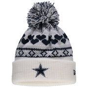 Dallas Cowboys New Era Girls Youth Winter Cutie Cuffed Knit Hat with Pom - White