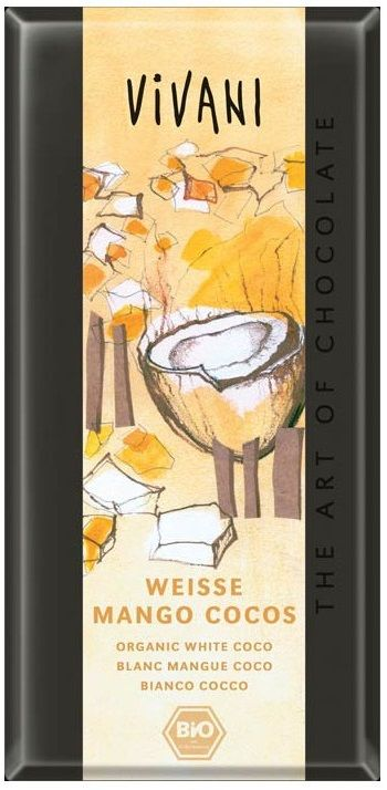 Vivani Weisse Mango Cocos... Λευκή σοκολάτα με κομματάκια μάνγκο, καρύδας και γιαούρτι. Απαλό άρωμα γιαουρτιού, βουτύρου και καρύδας. Απαλή και διακριτική υπόξινη γεύση γιαουρτιού αναμεμειγμένη με την γεύση του βουτύρου, ξεπροβάλοντας τραγανή καρύδα και πολύ πολύ απαλή γεύση μάνγκο. Ενας προτότυπος και γευστικός συνδιασμός!